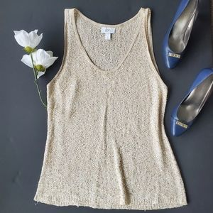Loft Gold with Sequins Tank Blouse